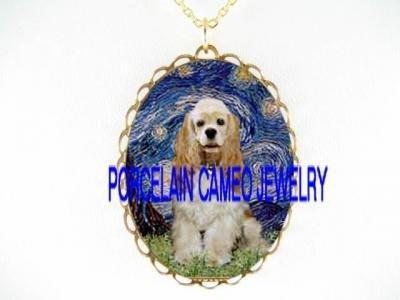 BUFF COCKER SPANIEL DOG VAN GOGH STARRY NIGHT*CAMEO PORCELAIN NECKLACE