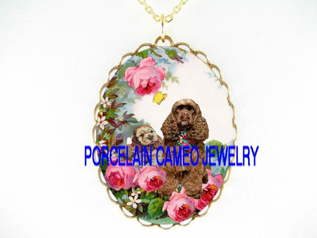 BROWN COCKER SPANIEL DOG MOM PUPPY ROSE BUTTERFLY *CAMEO PORCELAIN NECKLACE