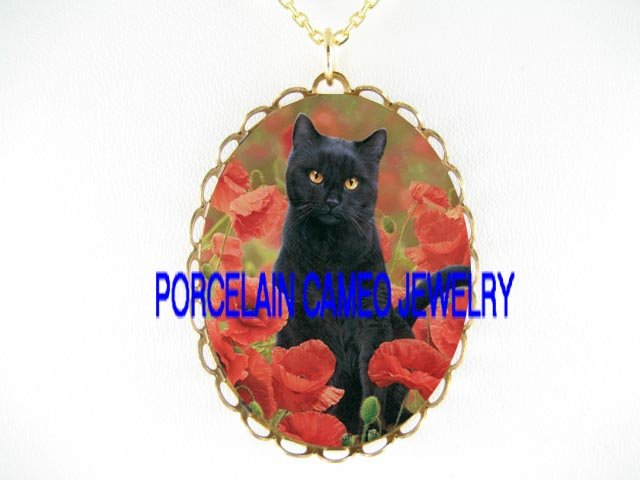 BLACK CAT WITH POPPY FLOWER*CAMEO PORCELAIN NECKLACE