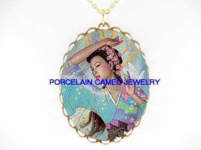 JAPAN GEISHA LADY DOVE CHERRY BLOSSOMS*CAMEO PORCELAIN NECKLACE