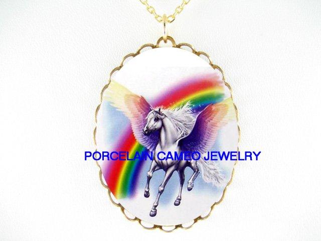 PURPLE  PEGASUS HORSE RAINBOW *CAMEO PORCELAIN NECKLACE