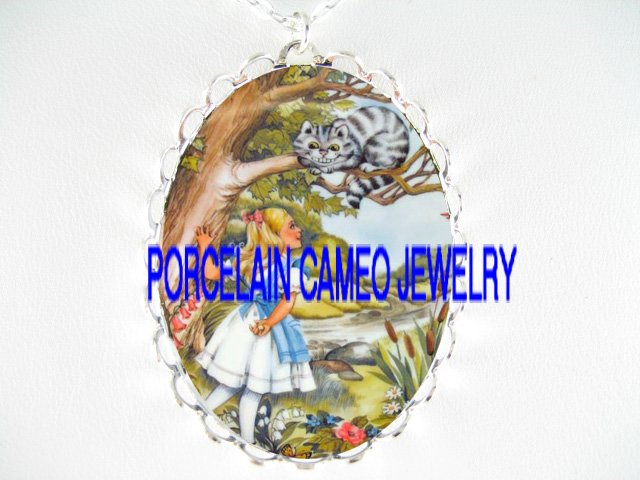ALICE WONDERLAND CHESHIRE CAT PORCELAIN CAMEO NECKLACE