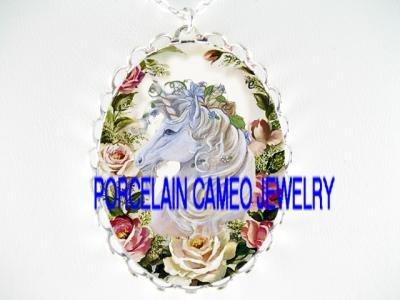 WHITE UNICORN HORSE PINK ROSE PORCELAIN CAMEO NECKLACE