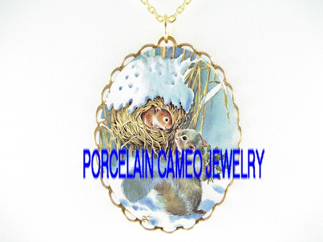 SQUIRREL MOM KISS BABY SNOW PORCELAIN CAMEO NECKLACE