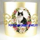 BLACK WHITE CAT VICTORIAN ROSE* CAMEO PORCELAIN  BANGLE CUFF BRACELET