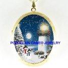 CHRISTMAS TREE WREATH LIGHTHOUSE SNOWMAN CAMEO LOCKET