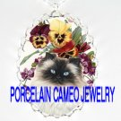 HIMALAYAN CAT VICTORIAN PANSY VIOLET *  CAMEO PORCELAIN NECKLACE