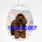 CHOCOLATE BROWN COCKER SPANIEL  ANGEL DOG RAINBOW *  CAMEO PORCELAIN NECKLACE