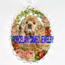 BUFF COCKER SPANIEL DOG VICTORIAN ROSE CAMEO PORCELAIN NECKLACE
