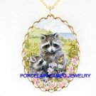 2 RACCOON MOM BABY BUTTERFLY PORCELAIN CAMEO NECKLACE