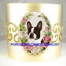 BOSTON TERRIER DOG VICTORIAN ROSE* CAMEO PORCELAIN BANGLE CUFF BRACELET