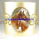 MARE FOAL HORSE CUDDLING* CAMEO PORCELAIN BANGLE CUFF BRACELET