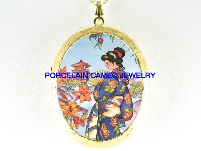 JAPAN GEISHA LADY WITH FAN TEMPLE GARDEN  *  CAMEO PORCELAIN LOCKET NECKLACE