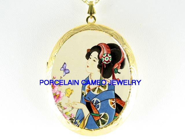 JAPAN GEISHA LADY BUTTERFLY GARDEN  *  CAMEO PORCELAIN LOCKET NECKLACE