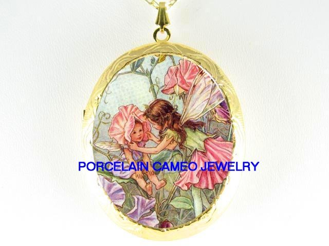 2 VICTORIAN FLOWER FAIRY SISTERS *  CAMEO PORCELAIN LOCKET NECKLACE