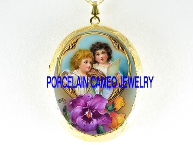 2 VICTORIAN SINGING ANGEL PANSY *  CAMEO PORCELAIN LOCKET NECKLACE