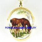 MARE AND FOAL CUDDLING RESTING *  CAMEO PORCELAIN LOCKET NECKLACE