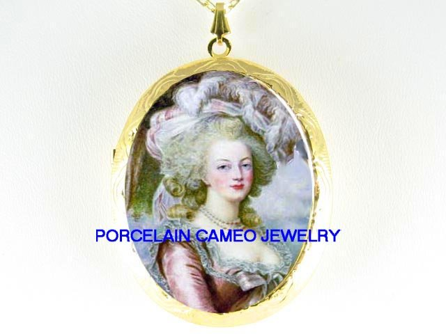 FRENCH QUEEN PINK Marie Antoinette ROSE *  CAMEO PORCELAIN LOCKET NECKLACE