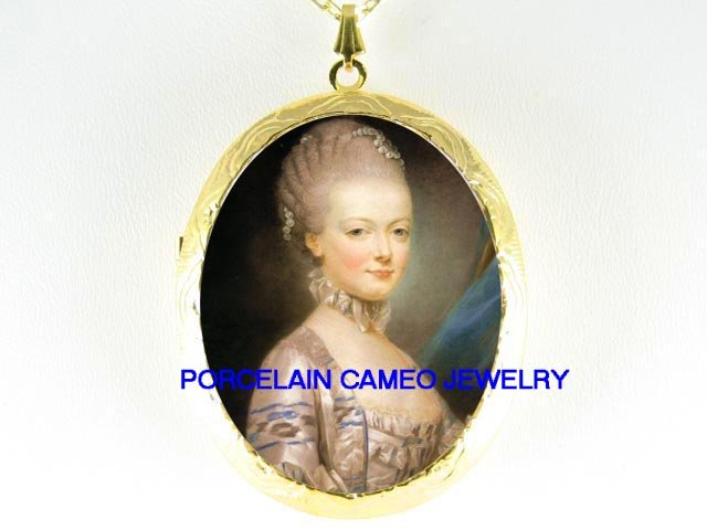 FRENCH QUEEN LACE Marie Antoinette *  CAMEO PORCELAIN LOCKET NECKLACE
