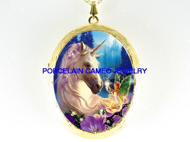 FLORAL UNICORN HORSE W/ FAIRY CAMEO PORCELAIN LOCKET NECKLACE