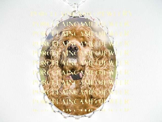 SWEET BUFF COCKER SPANIEL DOG CAMEO PORCELAIN NECKLACE