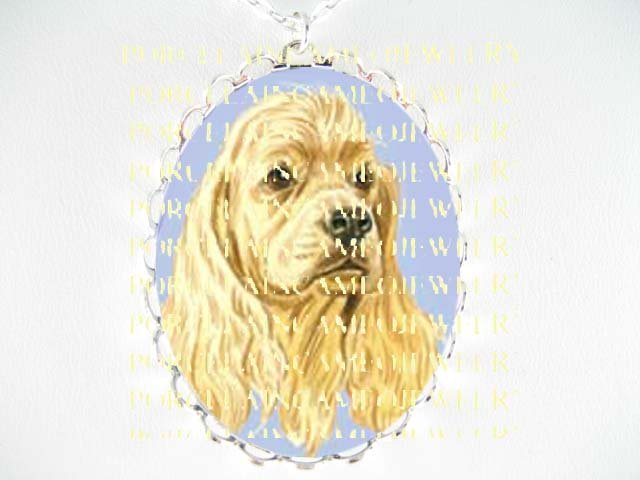 SWEET COCKER SPANIEL  DOG  *  CAMEO PORCELAIN NECKLACE