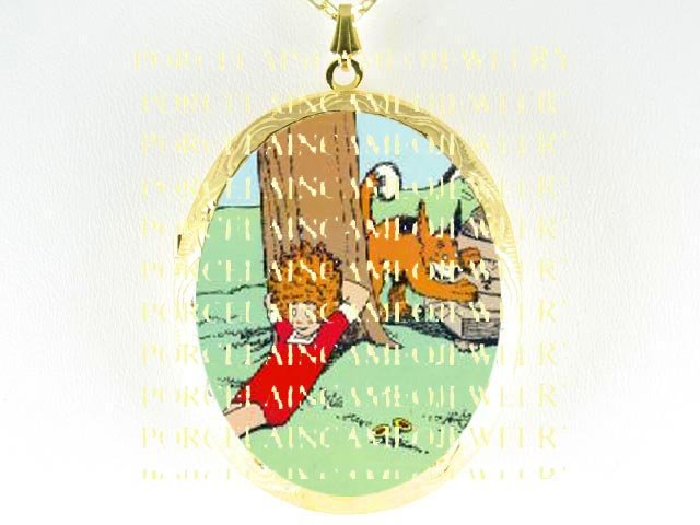 LITTLE ORPHAN ANNIE AND HER DOG SANDY CAMEO  RESTING *  CAMEO PORCELAIN LOCKET