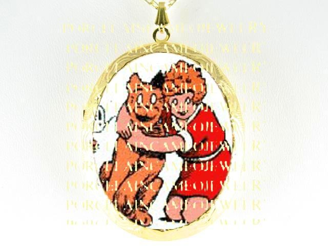 LITTLE ORPHAN ANNIE AND HER DOG SANDY CAMEO PORCELAIN LOCKET NECKLACE 6-8