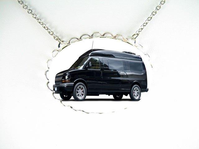 Black Conversion Van CAR PORCELAIN CAMEO SILVERTONE NECKLACE