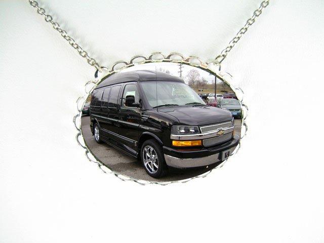 Black Conversion Van CAR PORCELAIN CAMEO SILVERTONE NECKLACE -3