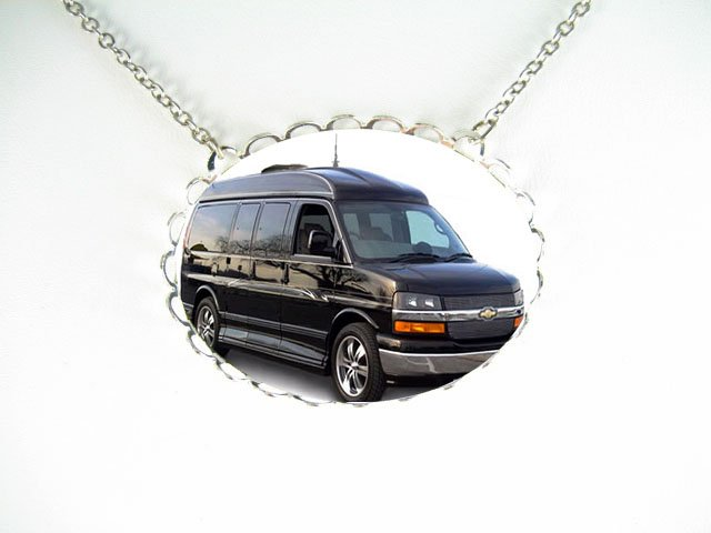 Black Conversion Van CAR PORCELAIN CAMEO SILVERTONE NECKLACE -5