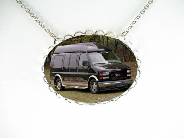 Black Conversion Van CAR PORCELAIN CAMEO SILVERTONE NECKLACE -6