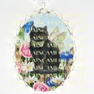 BLACK CAT FAIRY CHASING BUTTERFLY ROSE GARDEN *  CAMEO PORCELAIN NECKLACE