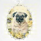 PUG DOG VICTORIAN ROSE FORGET ME NOT*  CAMEO PORCELAIN NECKLACE