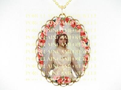 VICTORIAN ANGEL WITH ROSE*CAMEO PORCELAIN NECKLACE