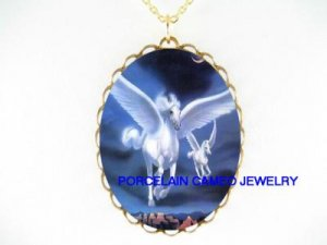 2 WHITE PEGASUS HORSE MOM BABY * CAMEO PORCELAIN NECKLACE