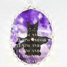 BLACK CAT CROW RAVEN PURPLE FAIRY STAR*  CAMEO PORCELAIN NECKLACE