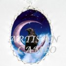 CROW RAVEN SITTING ON PURPLE MOON * CAMEO PORCELAIN NECKLACE