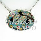 CROW RAVEN BIRD PLAY TIME FUN PORCELAIN CAMEO NECKLACE