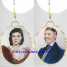 RARE GONE WITH THE WIND PORCELAIN CAMEO EARRINGS