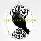 CROW RAVEN BLACK SWIRL DAMASK CAMEO PORCELAIN NECKLACE