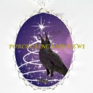 HAPPY CROW RAVEN CHRISTMAS STAR TREE PORCELAIN NECKLACE
