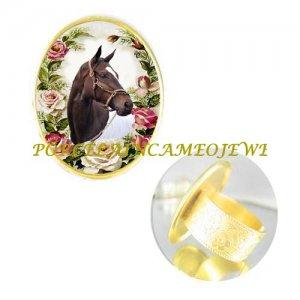 ZENYATTA CHAMPION HORSE PINK ROSE PORCELAIN CAMEO ADJ RING 5-9