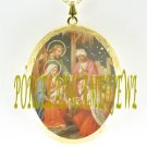 CHRISTMAS NATIVITY MANGER 3 KINGS PORCELAIN CAMEO LOCKET NECKLACE 19-4