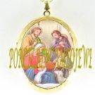 CHRISTMAS NATIVITY MANGER LAMB PORCELAIN CAMEO LOCKET NECKLACE 19-14