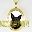 BLACK GERMAN SHEPHERD DOG* CAMEO PORCELAIN VINTAGE  SMALL LOCKET NECKLACE
