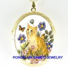 ORANGE TABBY CAT BUTTERFLY FLOWER CAMEOPORCELAIN LOCKET