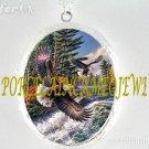 2 EAGLES FLYING RIVER PORCELAIN CAMEO LOCKET NECKLACE
