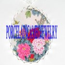 CHINESE PEONY BUTTERFLY PORCELAIN CAMEO NECKLACE