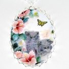 PERSIAN KITTEN CAT BUTTERFLY PORCELAIN CAMEO NECKLACE